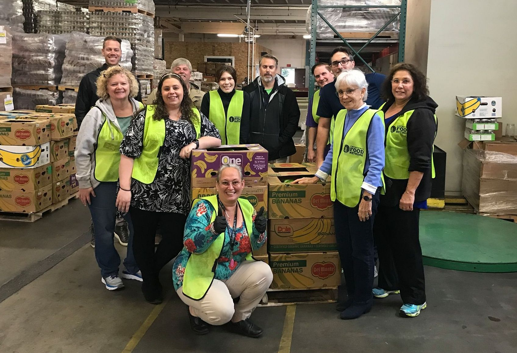 Maxi-Space staff helped charity partner Emergency Food Network pack nearly 11,000 pounds of red and yellow peppers in October.