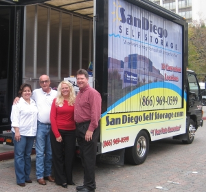 (From left) Sandra Flores, Brian Smith, and Susan and Kraig Haviland of San Diego Self Storage.