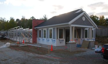 The office of North Royalton Self Storage in Ohio was built prior to the adjoining storage units. This allows maximum time to complete the more complex office structure, shown here during construction.