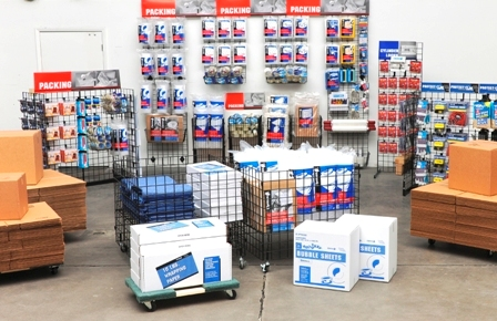 When designing your retail store area for packing and moving supplies, aim to have a large focal point at eye level. (Photo courtesy of Chateau Products Inc.)