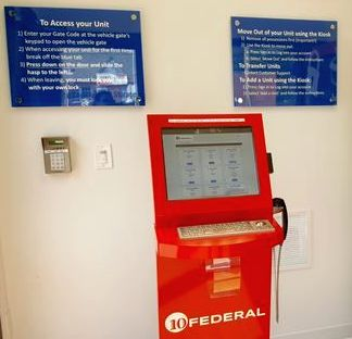 A freestanding kiosk at 10 Federal Storage in Durham, N.C.