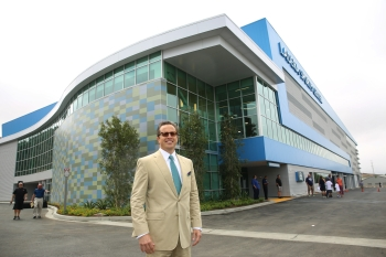 Schwartz in front of his Ladera Ranch facility