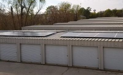 Rooftop solar panels at All Stor Storage in Marion, Iowa