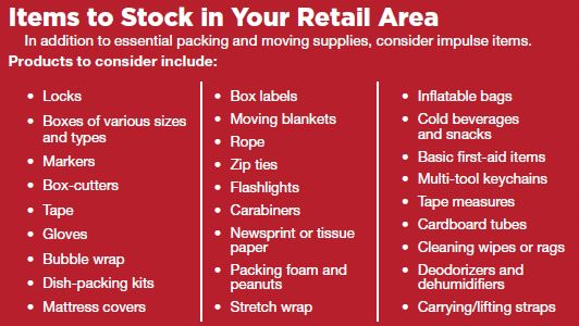Items to stock in a self-storage retail store***