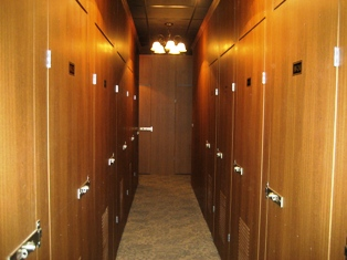 Wine-storage lockers made of French oak wood-grain embossed steel as shown here at Tropical Storage in Miramar, Fla.