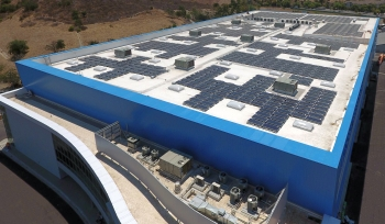 The photovoltaic system powering this mixed-use facility is expected to generate 472,200 kilowatt hours of energy annually—or enough electricity to power 43 homes for an entire year. It will provide 70 percent of the facility's energy needs.