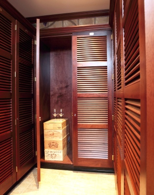 Wine-storage lockers can be constructed of exotic woods for a luxurious appeal. (Photo courtesy of Janus International.)