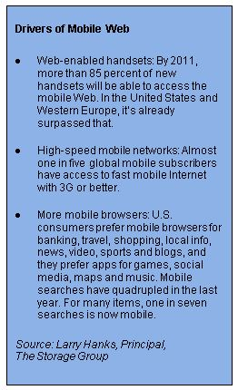 Drivers of Mobile Web from Larry Hanks of The Storage Group***