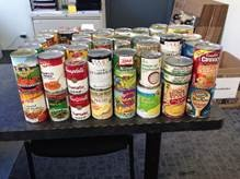 Canned food donated by tenants at Albany Super Storage in New York.