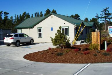 When developing a site plan, make sure the facility has an attractive, functional office layout with good curb appeal, such as this office at Heceta Self-Storage.
