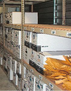 Records-storage racking can be purchased for one unit at a time and is a depreciable asset. (Photo courtesy of REB Storage Systems.)