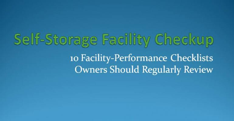 Self-storage facility preformance checklist operators should regularly review