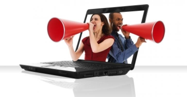 People in Laptop With MegaPhone