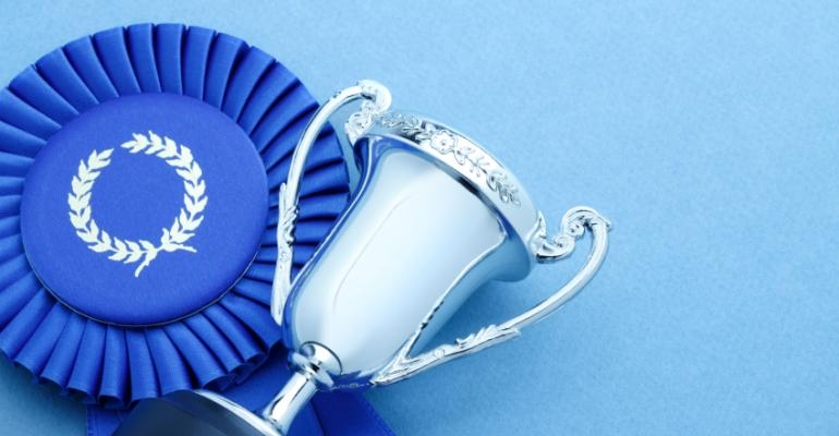 Blue ribbon with trophy