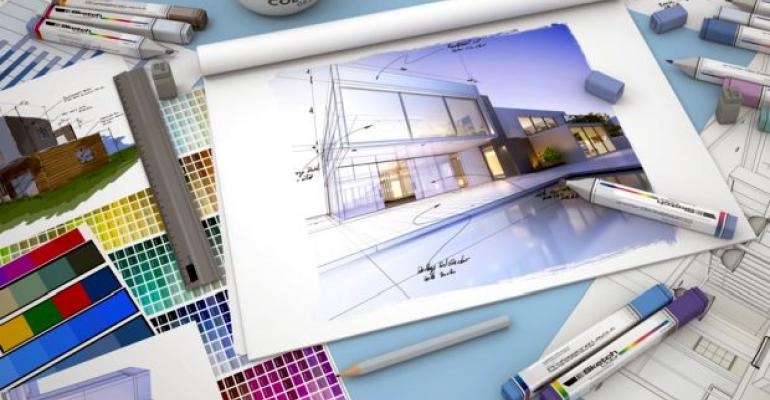 Design concept with blueprints and color swatches