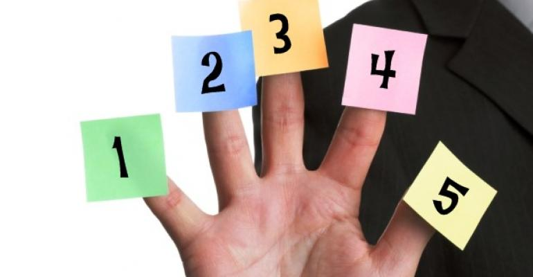 A hand with five numerated sticky notes