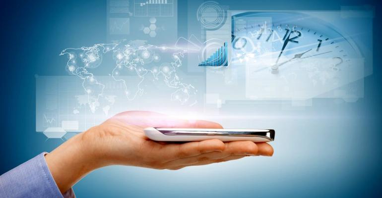 Hand holding smartphone technology