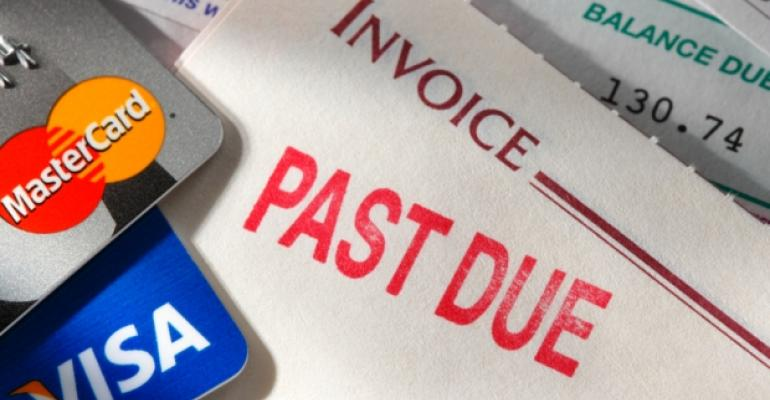 Past due credit cards invoice