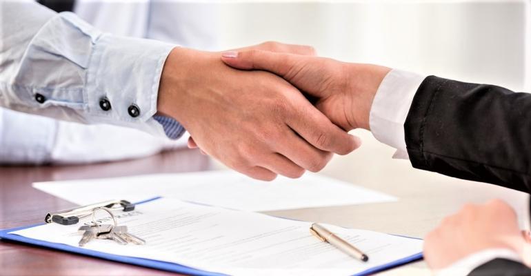 Real estate broker handshake