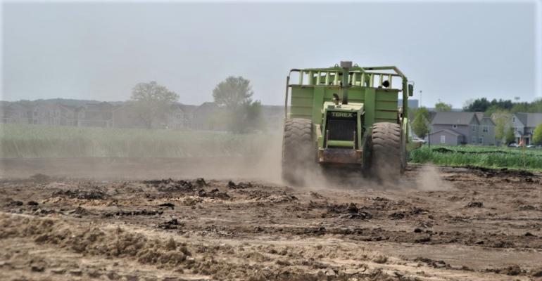 Bulldozer in dirt