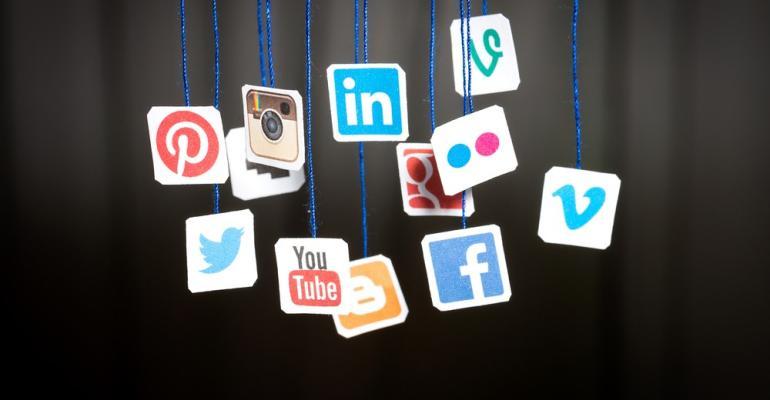 Hanging social media symbols