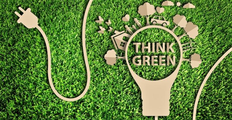 Think green lawn lightbulb
