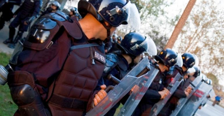 Police Force Shields Riot
